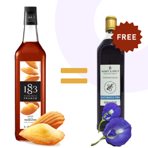 Buy French Madeleine syrup = 700ml butterfly pea syrup offer