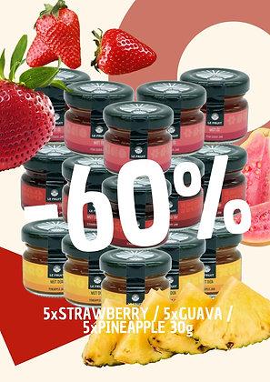 60%OFF - 5x30gr Strawberry Jam + 5x30gr guava jam + 5x30gr pineapple jam