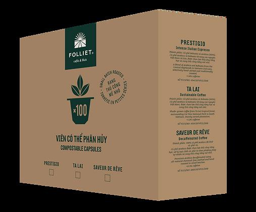 50% PROMO - Prestigio - Arabica - Robusta -100 capsules/Box - Italian taste