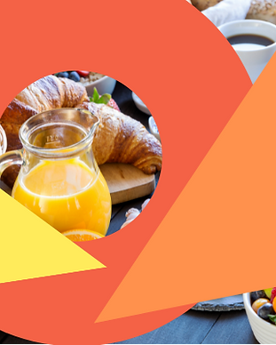 Breakfast with juices and pastry