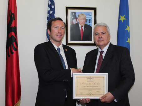 UCNE rector receives important honor from the City of Lezhe (Albania)