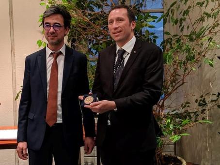 Ambassador Otto F. von Feigenblatt receives medal from the University of Versailles (France)