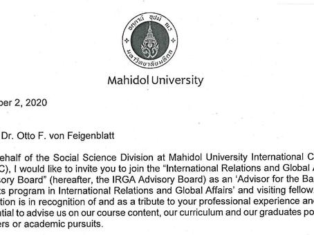 Dr. Otto F. von Feigenblatt joins Mahidol University as a Visiting Fellow and Advisory Board Member