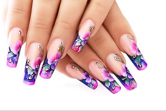 Female hand with floral art design nails