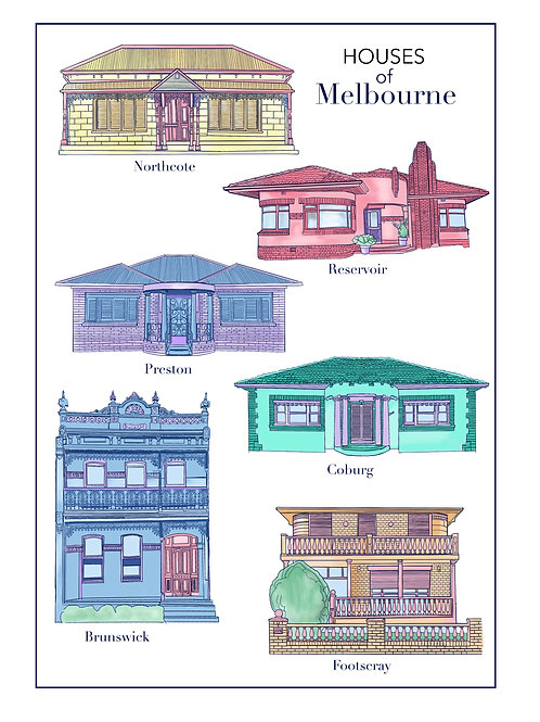 Houses of Melbourne Print