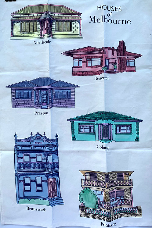 Houses of Melbourne Tea Towel  & Greeting Card