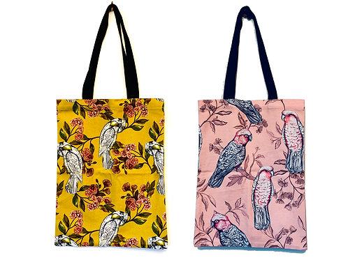 2 X Tote Bags in Sulphur Parrot & Pink Galah $40