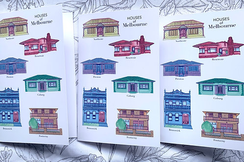 3 X Houses of Melbourne Greeting Card