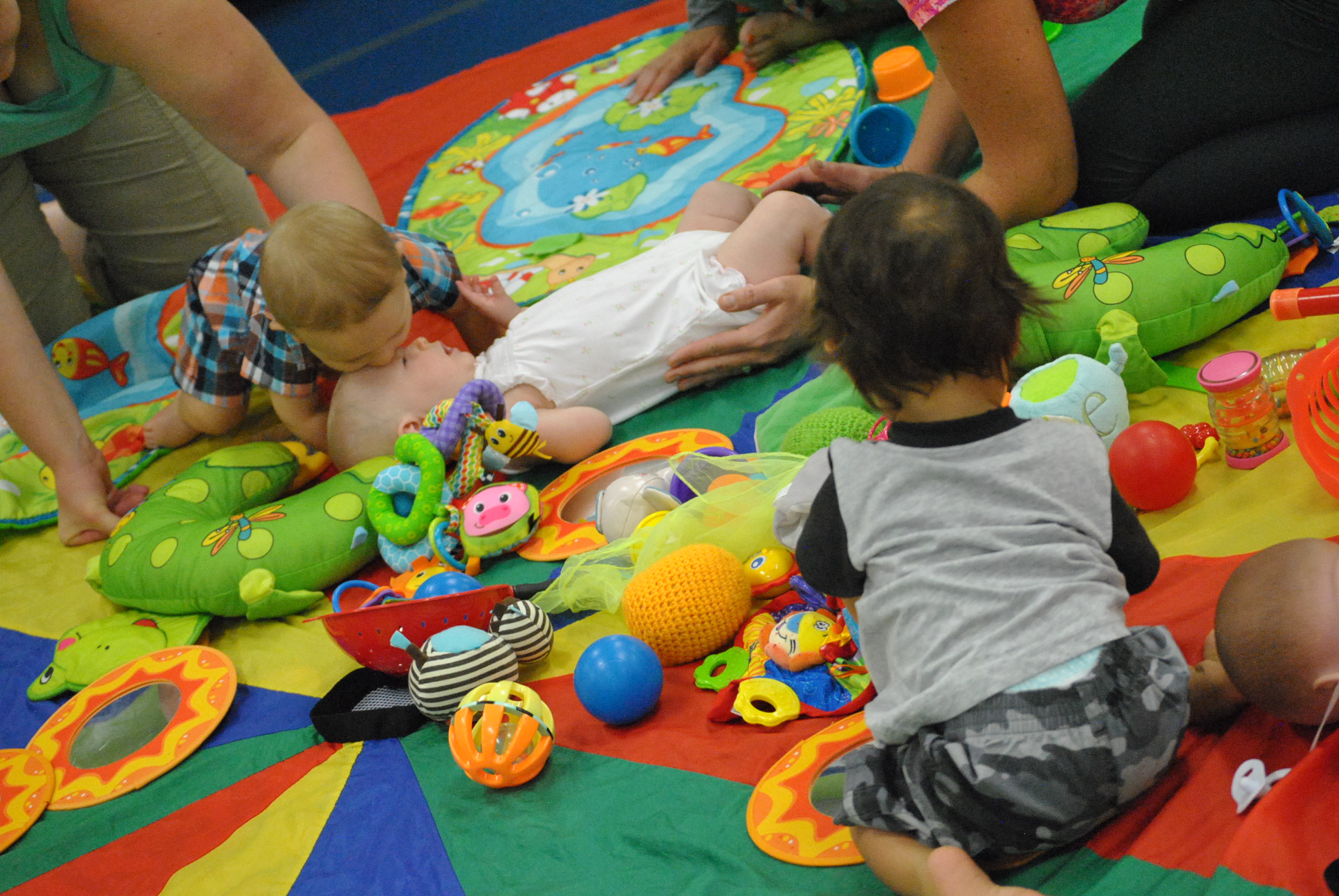 Babies playing in class