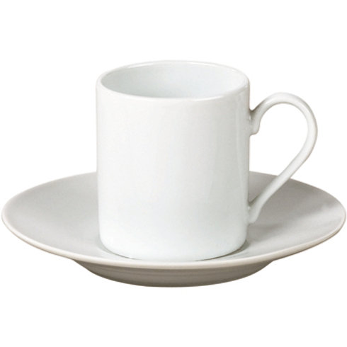 TAZA DE CAFE C/PLATO 90ML BLANCO PORCELANA SELECTA