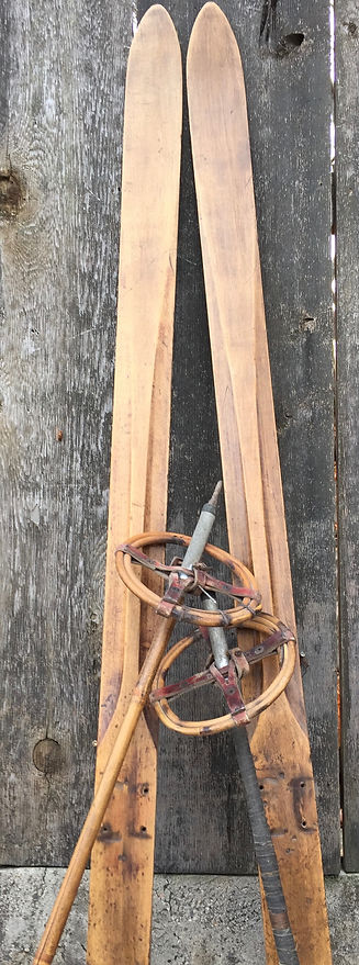 A pair of antique cross country skis sets the scene for a special activity