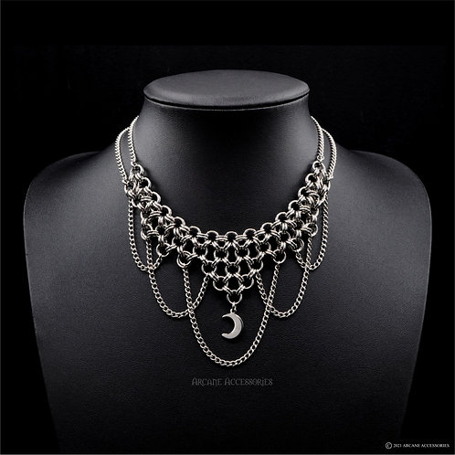 Japanese 8 in 2 Chains & Moon Necklace