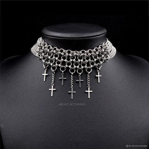 Japanese 8in2 Cross & Chains Choker