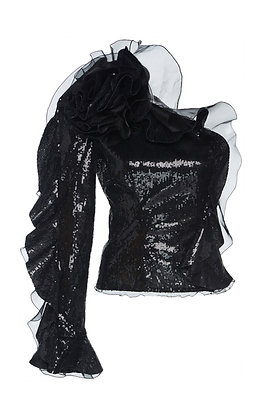 DUNDAS | One-Shoulder Ruffled Sequin Top
