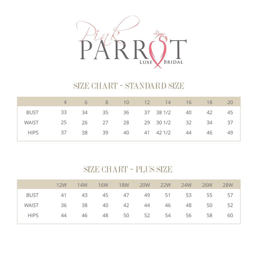 Pink Parrot Luxe' Bridal SIZE CHART.jpg