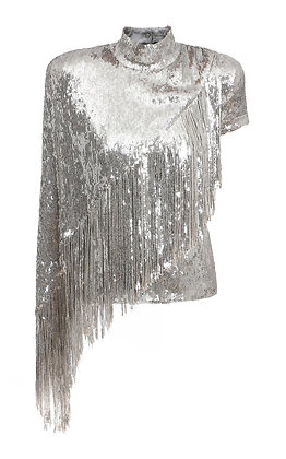 BALMAIN | Fringe Asymmetric Sequined Top