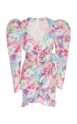 ALESSANDRA RICH | Floral Mini Silk Dress