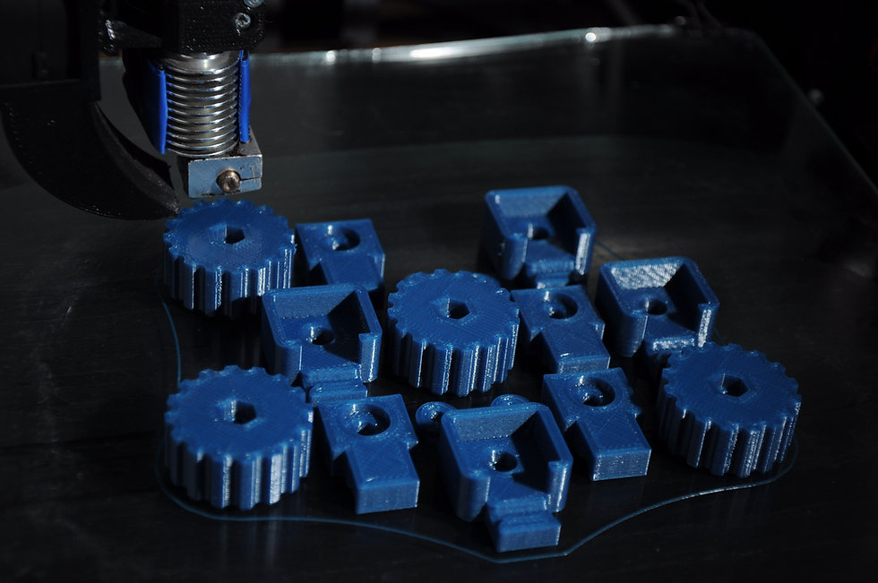 3D printed parts made of blue plastic an