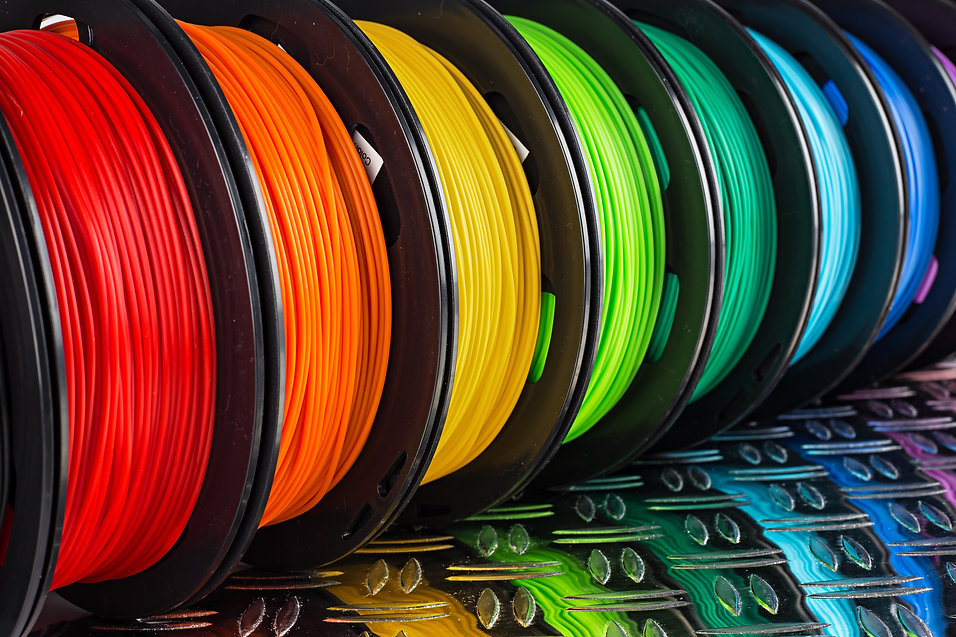colorful bright row of spool 3d printer