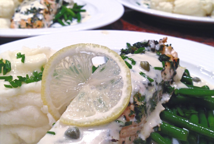 Herb Crusted Salmon with Chardonnay Butter Sauce