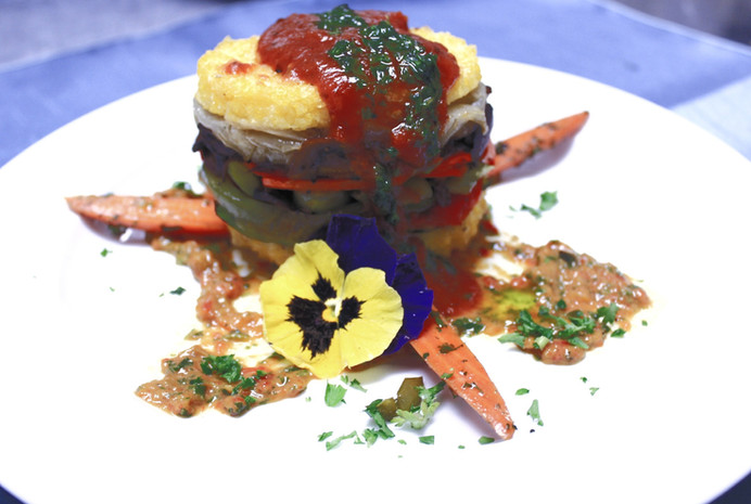 Polenta & Vegetable Napoleon with Red Pepper CoulisPepper