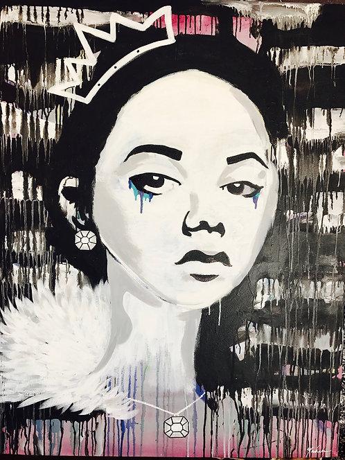Nosheen Pervez Art Girl Who Has it All Acrylic Canvas