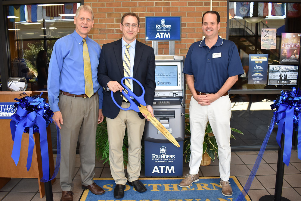 Southern Wesleyan University and Founders Federal Credit Union ribbon cutting for new ATM | ATM managed by AOne ATM