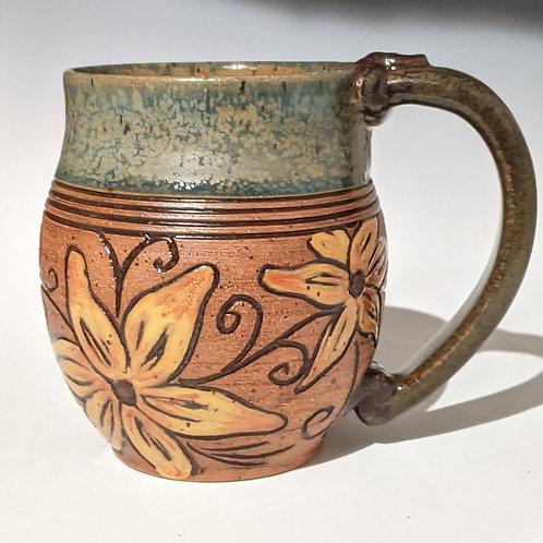 Yellow daisy floral mug