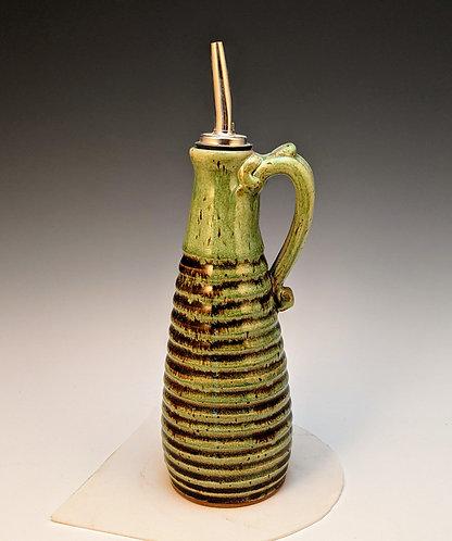 carved oil bottle soft green