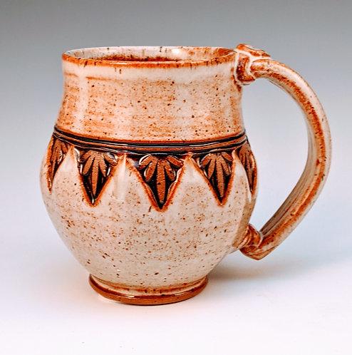 Wood block stamped mug