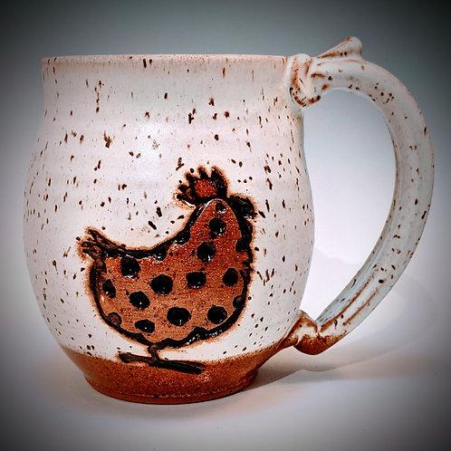 Chicken mug in white