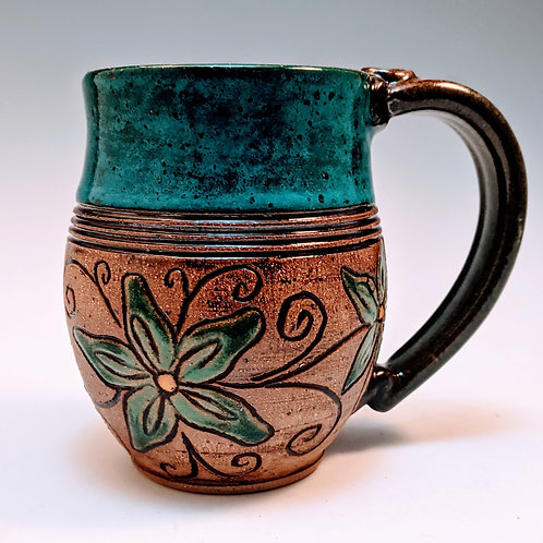 Turquoise daisy floral mug