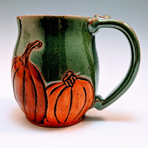 Pumpkin mug in green made to order about 3 weeks)