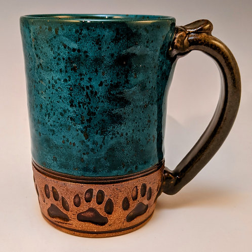 Paw prints straight up in power turquoise