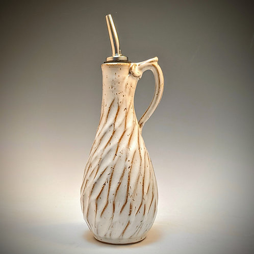 White carved Oil Decanter