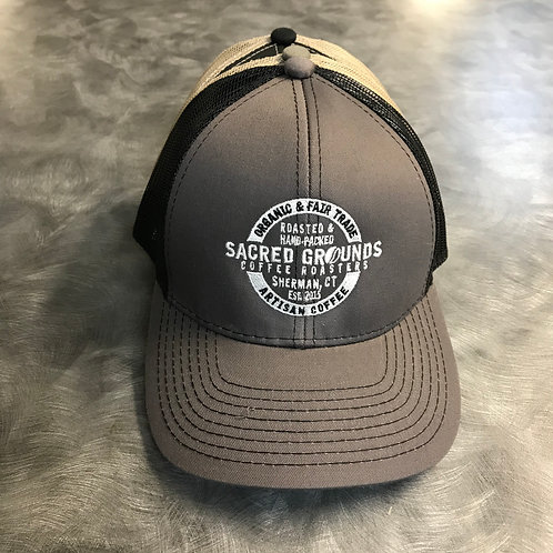 Sacred Grounds Trucker Hat w/badge logo