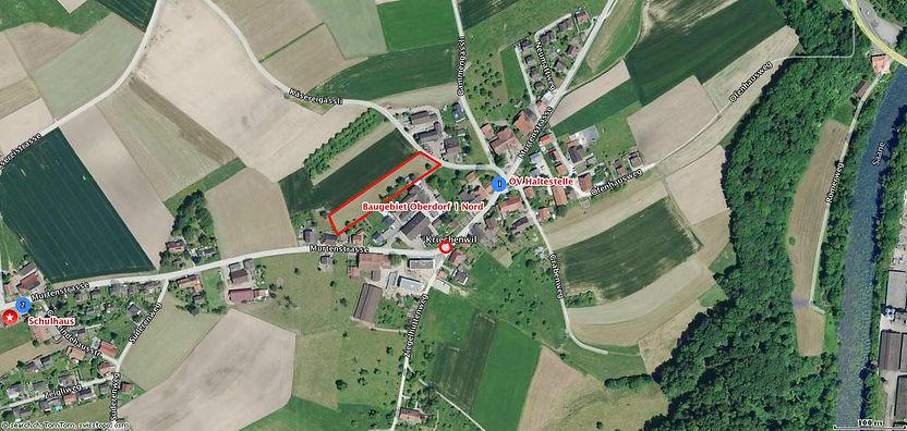 Luftbild des Baulandes in Kriechenwil für das Projekt Oberdorf1