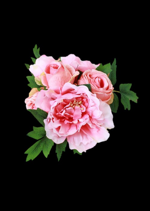 Silk Peony and Rose Bouquet in Two Tone Pink 12\