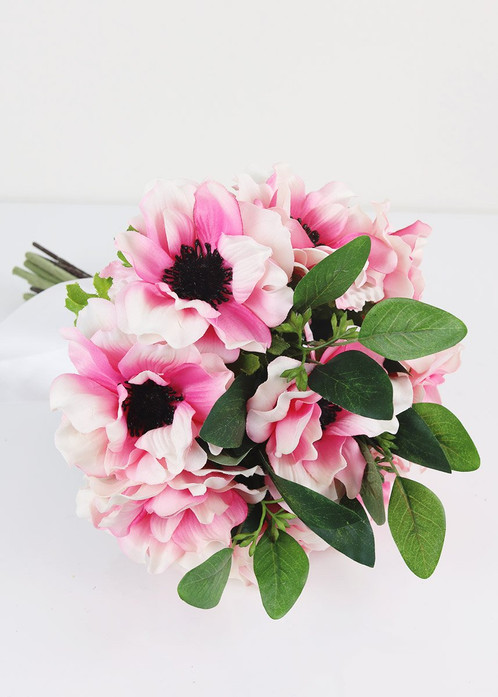 Artificial pink anemone eucalyptus bouquet 135 tall find gorgeous pre made artificial silk flower bouquets for your wedding this bouquet features pretty pink and white anemones with black centers mightylinksfo