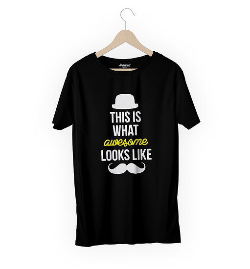 This Is What Awesome Looks Half Sleeves Round Neck Unisex 100% Cotton T-shirt