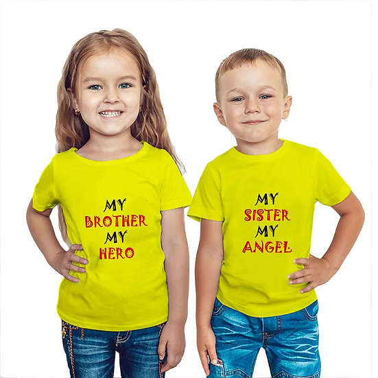 My Brother My Hero & My Sister My Angel (Combo of 2 T-shirts)