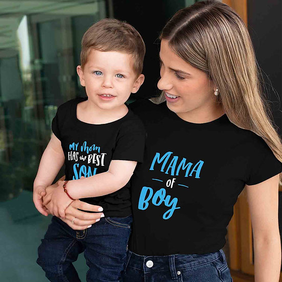 Mama Of Boy And My Mom Has Best Son (Combo of 2 T-shirts)