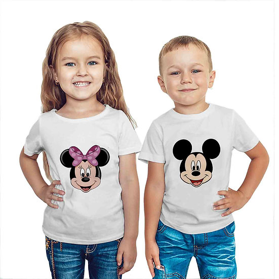 Mickey & Minnie Face (Combo of 2 T-shirts)