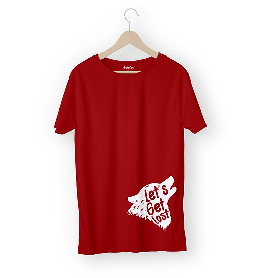 Lets Get Lost Wolf Art Half Sleeves Round Neck Unisex 100% Cotton T-shirt