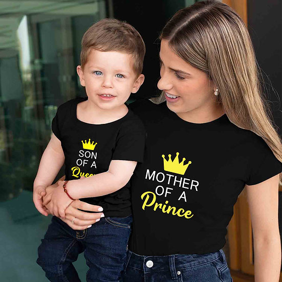 Mother Of Prince And Son Of Queen (Combo of 2 T-shirts)