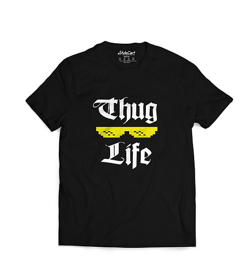 Thug Life Half Sleeves Round Neck 100% Cotton Tees