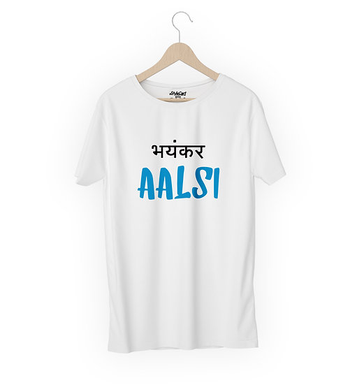 Bhayankar Aalsi Half Sleeves Round Neck 100% Cotton Tees