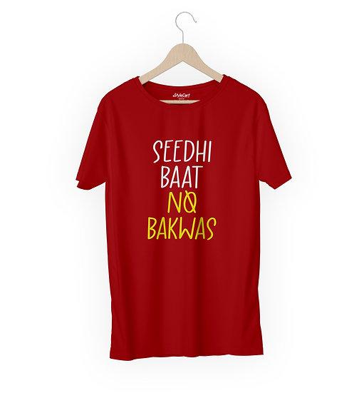 Seedhi Baat No Bakwas Half Sleeves Round Neck 100% Cotton Tees