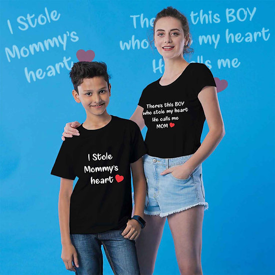 There's This Boy Who Stole My Heart He Calls Me Mom (Combo of 2 T-shirts)