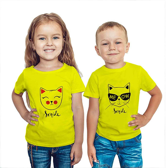 Smile Cat Print (Combo of 2 T-shirts)